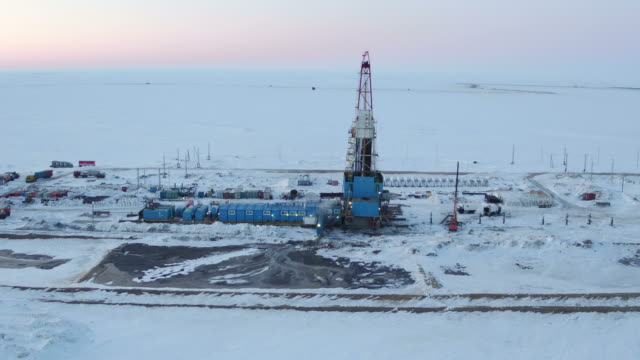 Sequence of Aerial shots Of Oil Drilling at Nord of Western Siberia video
