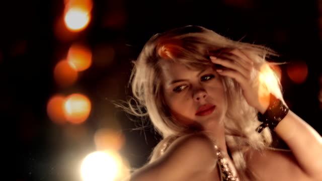 HD Sequence Vegas Nightlife. Sensual Blond Girl Dancing video