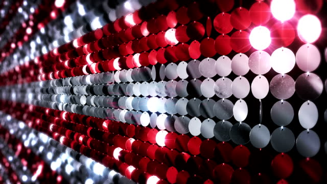 Sequins reflective background. Red and White.
