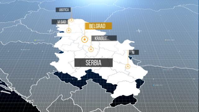 vídeos de stock, filmes e b-roll de sérvio mapa com rótulo então com para fora a etiqueta - sérvia