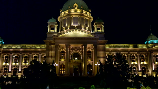 Serbian parliament building in the center of Belgrade capital city. video