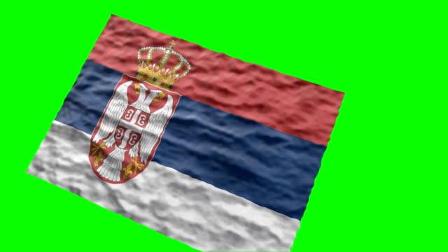 vidéos et rushes de drapeau stade serbe. agitant sur écran vert - ligue sportive