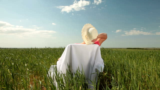 Serene Old Age Senior woman enjoying retirement on the nature,  rear view, wide shot human back stock videos & royalty-free footage