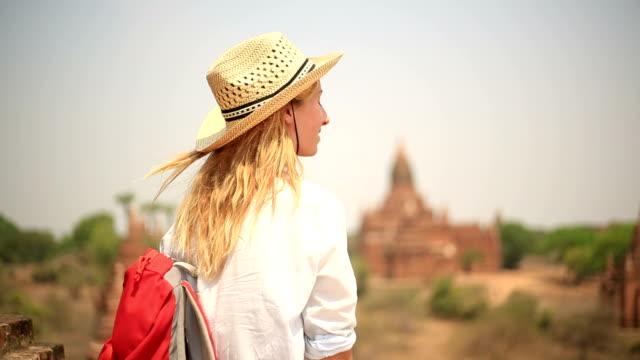 Serene traveler looking at view-Bagan temples video