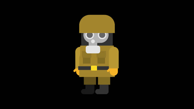 Sergeant soldier in gas mask attacks and fires pistol. Animation set. Alpha channel