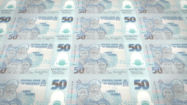 Series of banknotes of fifty nigerian naira of the Central Bank of Nigeria rolling on screen, coins of the world, cash money, loop video
