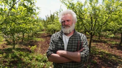vídeos de stock e filmes b-roll de serious farmer in his orchard - agricultor