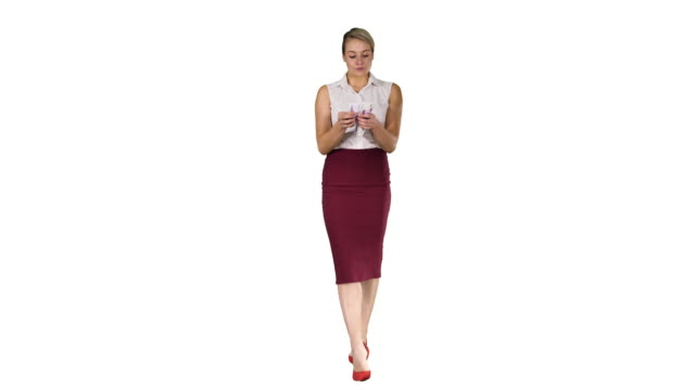 Video Serious looking businesswoman with euros counting them on white background