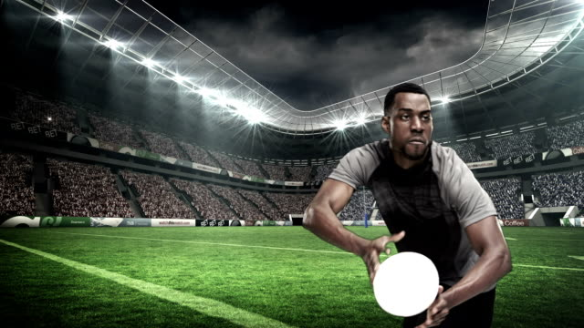 Serious rugby player throwing the ball video