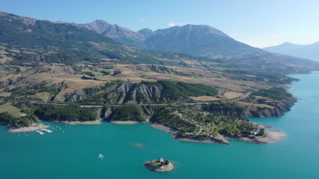 serre-poncon lake and alps, france - hautes alpes stock videos & royalty-free footage