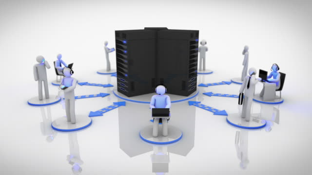 Server Network. Loopable. Blue. White background. video