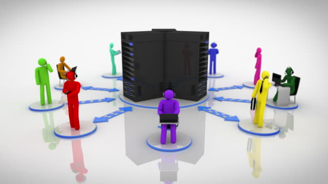 Server Network. Loopable. Multicolored. White background. video