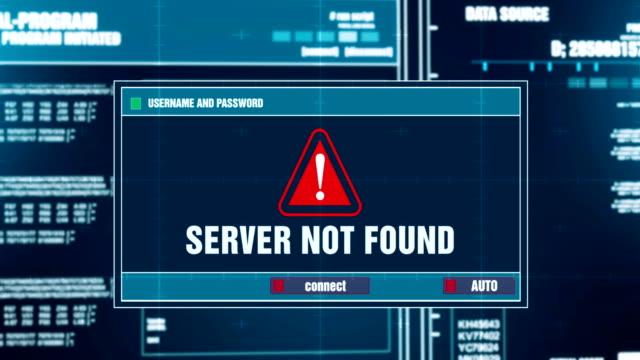 servern hittades inte varningen meddelande genereras på digitala system security alert felmeddelande på datorskärmen efter att ange användarnamn och lösenord. it-brottslighet, datorn hacking koncept - coffe with death bildbanksvideor och videomaterial från bakom kulisserna