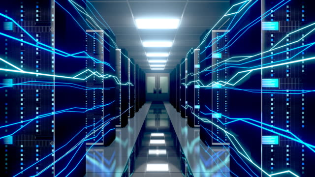 3D 4K server room - data center