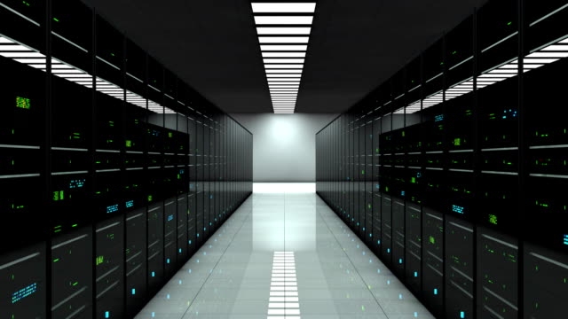 Server room. Dynamic focal length. LED lights are flashing. Server room. 3D animation. LED lights are flashing. Technology background. Dynamic focal length. Working data servers. mainframe stock videos & royalty-free footage