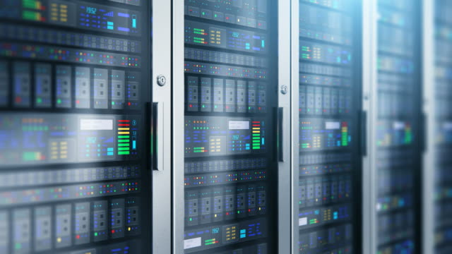 Server room interior in datacenter Modern web network and internet telecommunication technology, big data storage and cloud computing computer service business concept: 3D render illustration of the macro view of server room interior in datacenter with selective focus effect network server stock videos & royalty-free footage