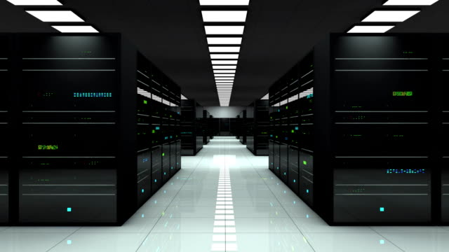 Server room. LED lights are flashing. Technology background. Camera zoom. Server room. 3D animation. LED lights are flashing. Technology background. Working data servers. Camera zoom server room stock videos & royalty-free footage