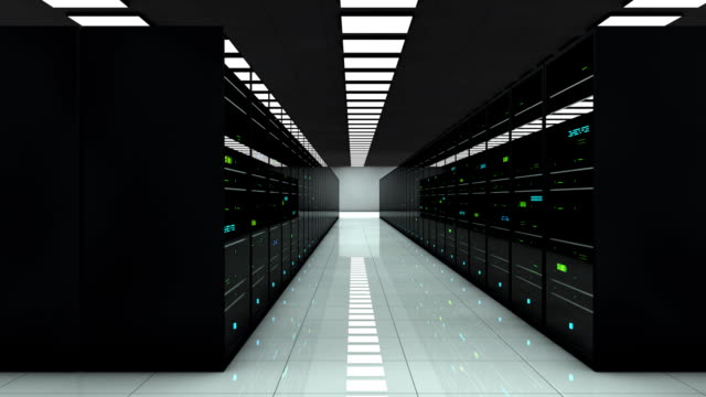Server room. LED lights are flashing. Technology. Camera moves to the right Server room. 3D animation. LED lights are flashing. Technology background. Camera moves to the right. server room stock videos & royalty-free footage