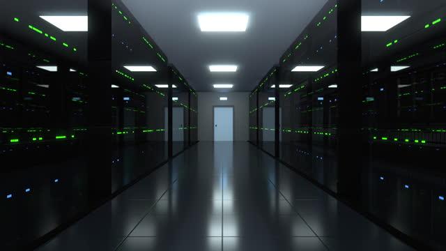 stockvideo's en b-roll-footage met serverruimte modern interieurserverdatacenter - bitcoin
