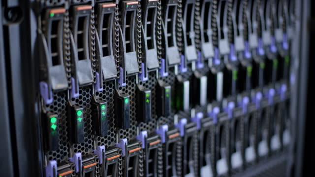 LD Server stack hard drives with blinking LED lights