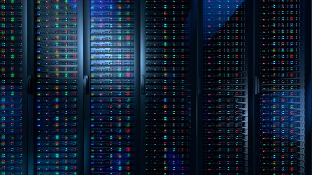 Servers close up. Modern data center. Servers close up. Modern data center. Cloud computing. Looped animation .Server in the data center. 3d rendering of data for cloud computing. server room stock videos & royalty-free footage