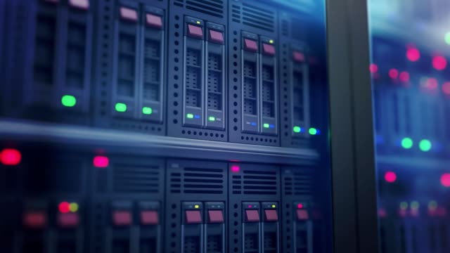 Servers in datacenter. Web hosting, internet and computer network concept. Looping animation.