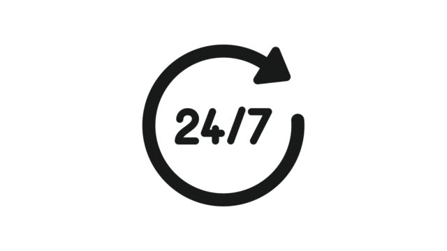 24/7 Service open 24h hours a day and 7 days a week. Flat video in black on a white background.