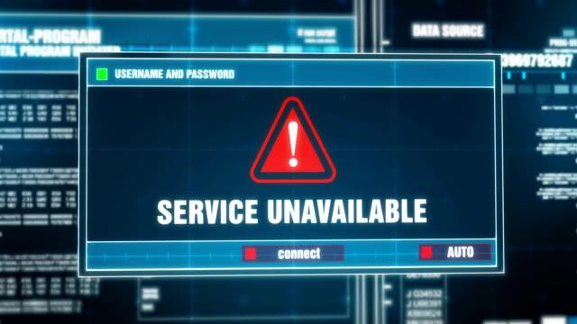 service tillgänglig varningen meddelande genereras på digitala system security alert felmeddelande på datorskärmen när du har angett användarnamn och lösenord. it-brottslighet, datorn hacking koncept - offline bildbanksvideor och videomaterial från bakom kulisserna