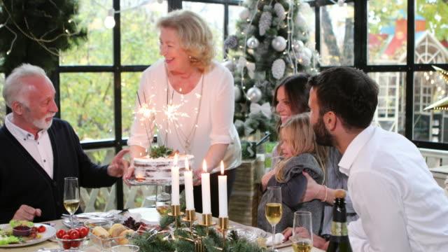 vídeos de stock e filmes b-roll de serving christmas cake - christmas cake
