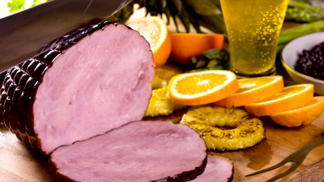 Serving Delicious Ham Cutting Roasted Ham roast dinner stock videos & royalty-free footage