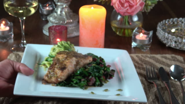Serving Grilled Wild Salmon Filet with Collard Greens and Zoodle (Zucchini Noodle) video