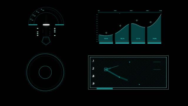vídeos y material grabado en eventos de stock de establecer animación gráfica futurista high tech hud elementos para la interfaz de usuario.  (alpha apple prores) - tabla medios visuales