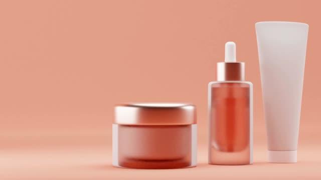 set blank cosmetic packaging mock up, sfondo arancione pastello, rendering 3d - mercanzia video stock e b–roll