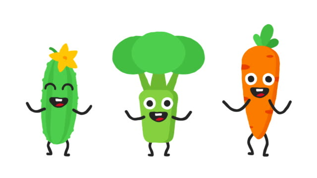 Set dancing vegetables cucumber broccoli carrots. Loop animation. Alpha channel. Set dancing vegetables cucumber broccoli carrots. Loop animation. Alpha channel. Motion graphics. Animation video. carrot stock videos & royalty-free footage