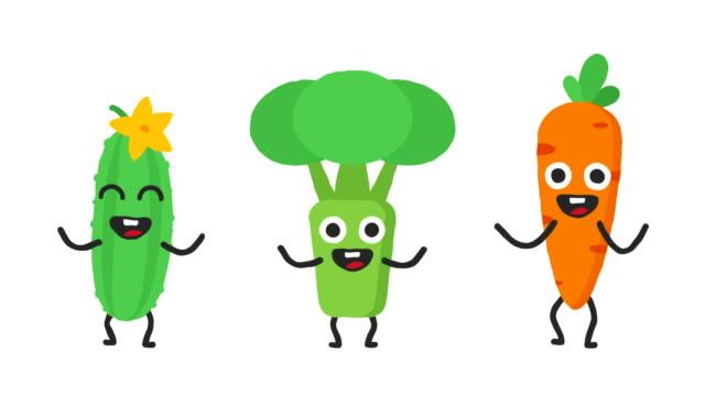 ställ in dans grönsaker gurka broccoli morötter. loop animation. alfakanal. - morot bildbanksvideor och videomaterial från bakom kulisserna