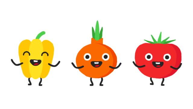 set dancing vegetables pepper onion tomato. loop animation. alpha channel. - томат овощ стоковые видео и кадры b-roll