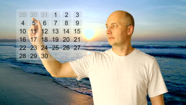 Set gestures tourism ad. White man hand gestures rating calendar stars choice touch thumbs up price. Seashore sunset background. Yes no head nod. Choose dates. Set rating stars. Price break. video