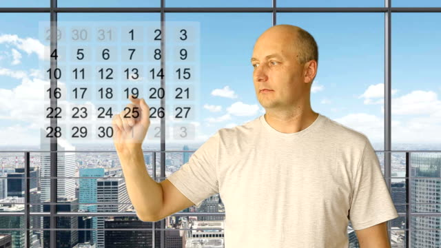 Set gestures tourism ad. White man hand gestures rating calendar stars choice touch thumbs up price. Office large window city skyline background. Yes no head nod. Choose dates. Set rating stars. video