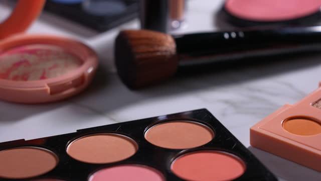 Set makeup cosmetics on marble background Set makeup beauty cosmetics on marble background and rotation mascara stock videos & royalty-free footage