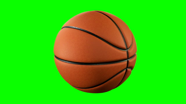 set of 3 videos. beautiful basketball ball rotating in slow motion on green screen. looped basketball 3d animation of spinning ball. 4k uhd 3840x2160. - cestino video stock e b–roll