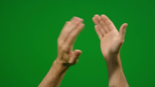Set aus 7 verschiedenen klatschte und winken Gesten schnell und langsam auf greenscreen – Video