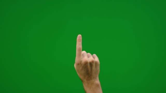 vídeos de stock e filmes b-roll de set of 7 different one finger click gestures fast and slow on greenscreen - empurrar atividade física