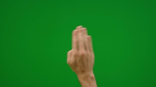 Satz von 8 verschiedenen Cleening Bildschirm Handgesten, schnellen und langsamen auf greenscreen – Video