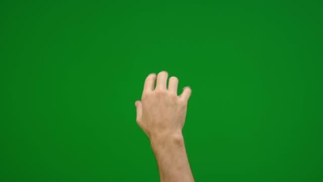 set di 8 diversi gesti di presa a mano completa veloci e lenti sullo schermo verde - spingere video stock e b–roll