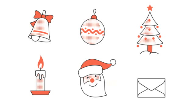 set of animated looped christmas new year icons - cappello video stock e b–roll