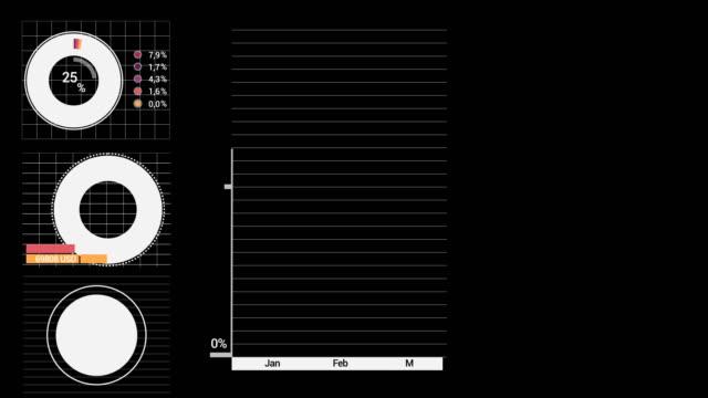 Ensemble de belles Animations abstraites de plus en plus de graphiques et données sur les stocks. Données financières et des graphiques montrant l'accroissement des bénéfices. Version Noire. - Vidéo