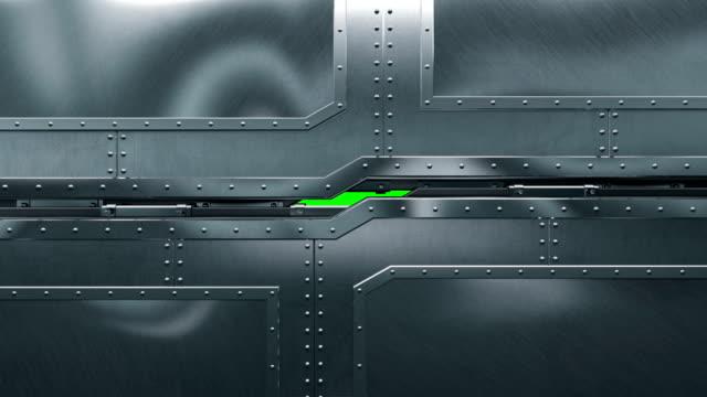 設置美麗的關閉和打開門, 水準和垂直, 阿爾法啞光。抽象隔離金屬門3d 動畫上的綠色螢幕。技術理念。 - 鋼鐵 個影片檔及 b 捲影像