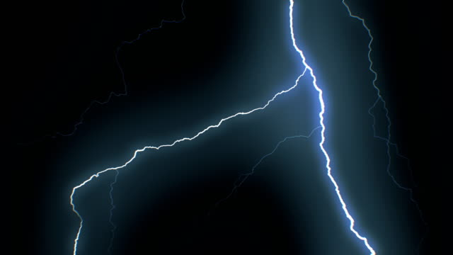 Set of Beautiful Lightning Strikes on Black Background. Electrical Storm. 17 Videos of Blue Realistic Thunderbolts in Loop Animation.