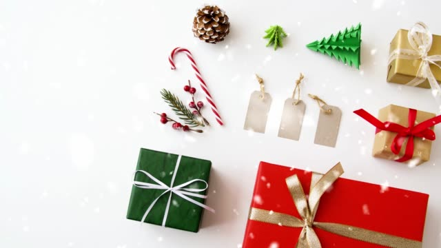 set of christmas gifts, tags and decorations