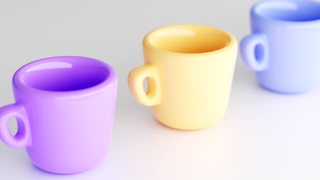set of colorful, juicy, matte, empty cups with handle on light background. cups in yellow, blue and purple. dinnerware with rounded shape is used to serve tea, coffee. 3d rendering - porcelain stock videos & royalty-free footage